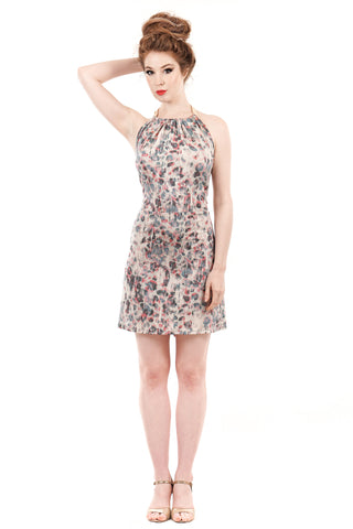 obscured pansies halter dress