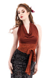 ochre bamboo wrap top - Poema Tango Clothes: handmade luxury clothing for Argentine tango