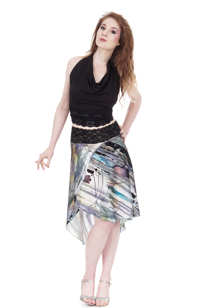 oil and ink wash silk flared skirt - Poema Tango Clothes: handmade luxury clothing for Argentine tango