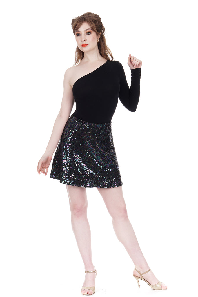 oil spill sequin draped skirt - Poema Tango Clothes: handmade luxury clothing for Argentine tango