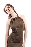 olive bamboo halter - Poema Tango Clothes: handmade luxury clothing for Argentine tango