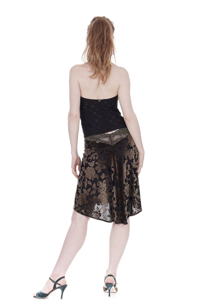 olive burnout velvet fluted skirt - Poema Tango Clothes: handmade luxury clothing for Argentine tango