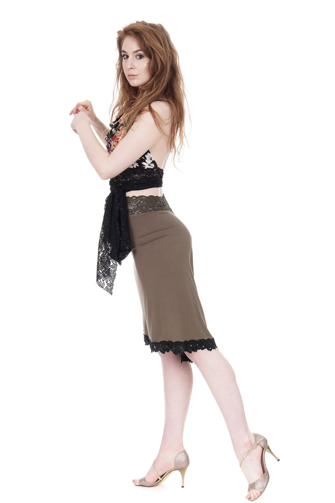 olive ruched & embellished skirt - Poema Tango Clothes: handmade luxury clothing for Argentine tango