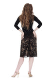 olive velvet burnout ruched skirt - Poema Tango Clothes: handmade luxury clothing for Argentine tango