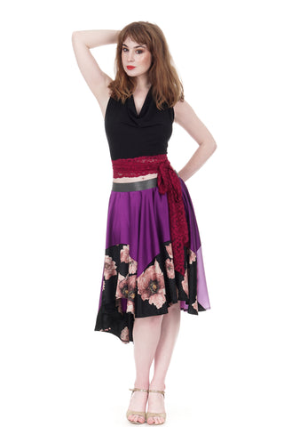 orchid silk & tatter blooms velvet skirt