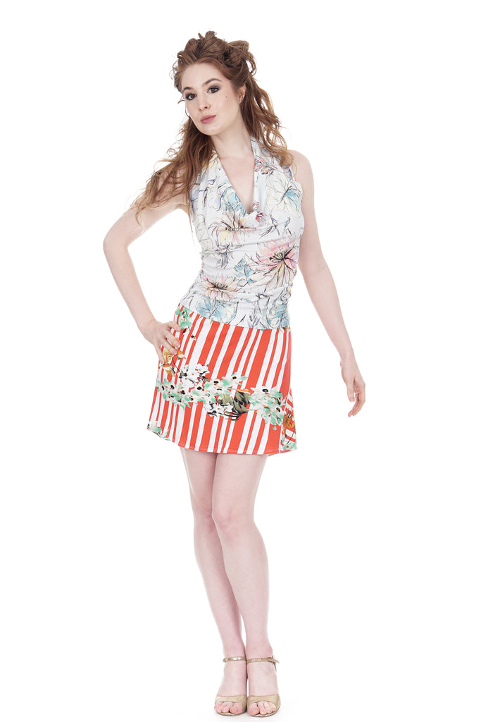 orchids & candy stripe flared short skirt - Poema Tango Clothes: handmade luxury clothing for Argentine tango
