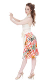orchids & candy stripe flared skirt - Poema Tango Clothes: handmade luxury clothing for Argentine tango