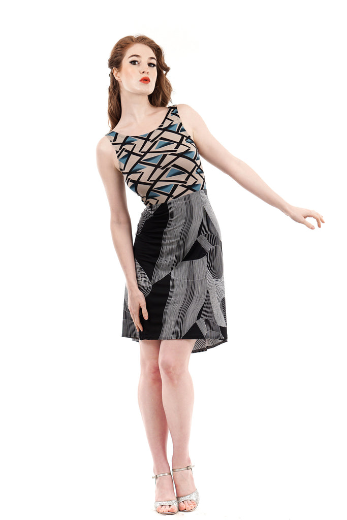 origami vectors dress - Poema Tango Clothes: handmade luxury clothing for Argentine tango