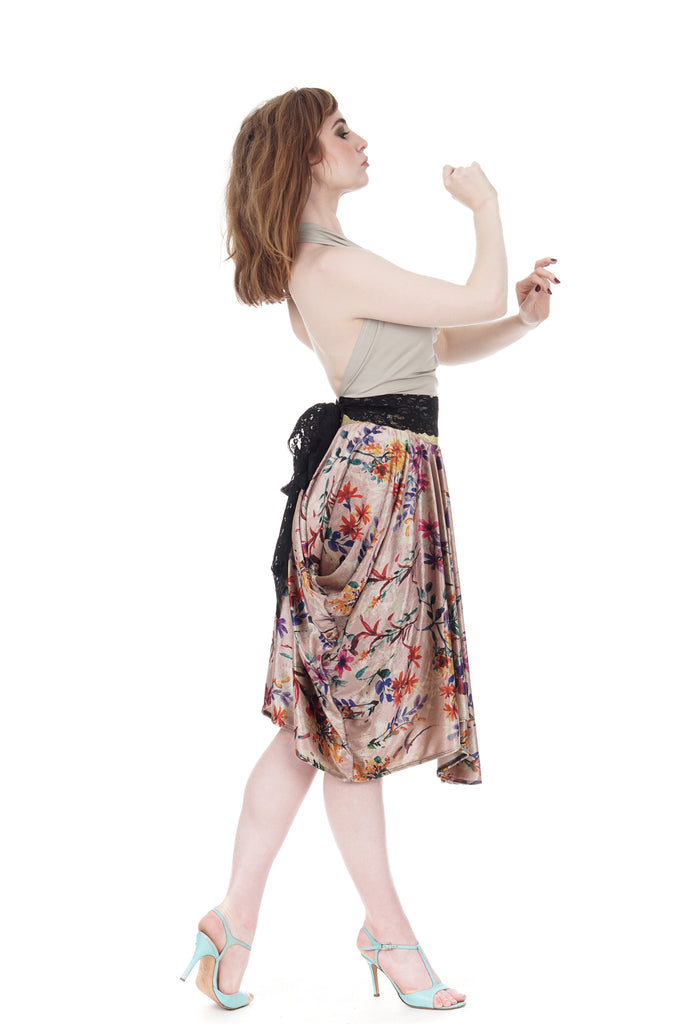painted field velvet half-bustled skirt - Poema Tango Clothes: handmade luxury clothing for Argentine tango
