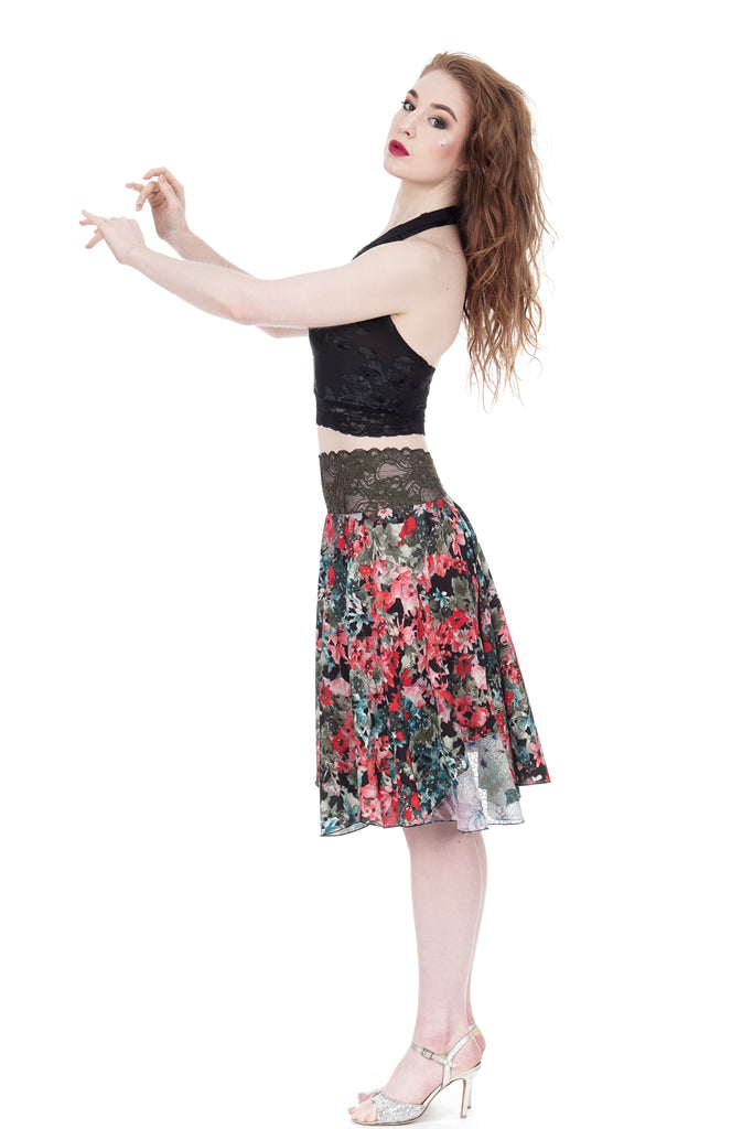 painted fields and fairyland sequins circle skirt - Poema Tango Clothes: handmade luxury clothing for Argentine tango