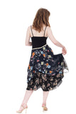 painted flower bustled silk skirt - Poema Tango Clothes: handmade luxury clothing for Argentine tango
