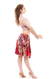 painted iris and red porcelain circle skirt - Poema Tango Clothes: handmade luxury clothing for Argentine tango