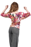 painted iris drape sleeve top - Poema Tango Clothes: handmade luxury clothing for Argentine tango