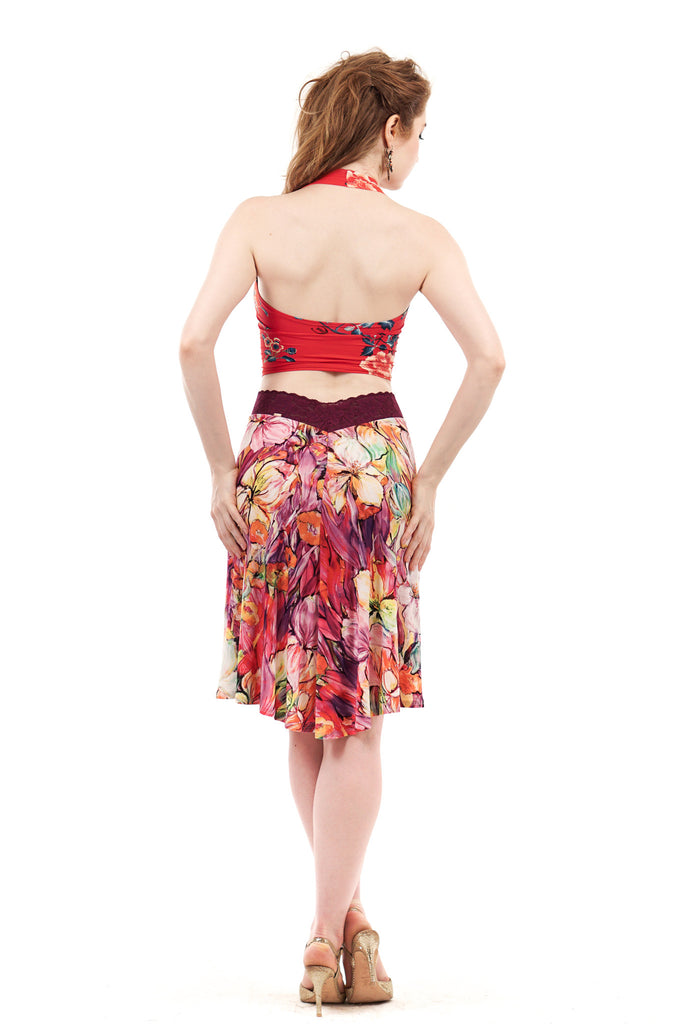 painted iris fluted skirt - Poema Tango Clothes: handmade luxury clothing for Argentine tango