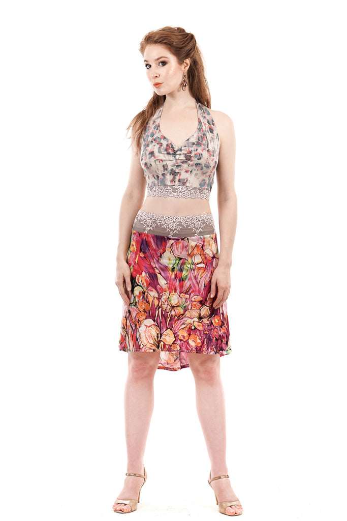 painted iris skirt - Poema Tango Clothes: handmade luxury clothing for Argentine tango