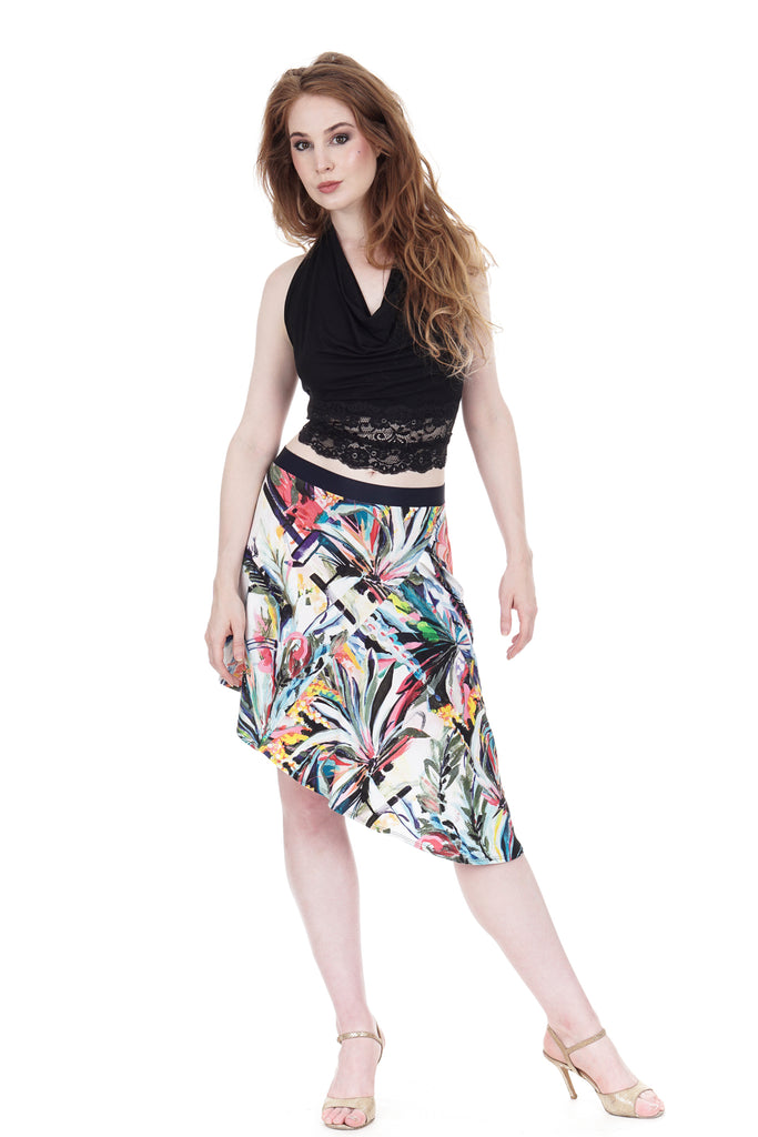 painted palms draped & ruched skirt - Poema Tango Clothes: handmade luxury clothing for Argentine tango