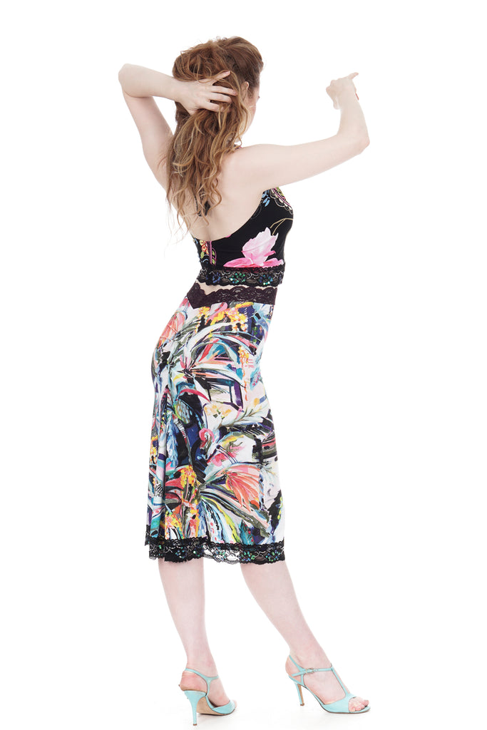 painted palms ruched skirt - Poema Tango Clothes: handmade luxury clothing for Argentine tango