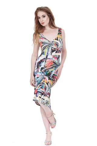 painted palms ruched tank dress