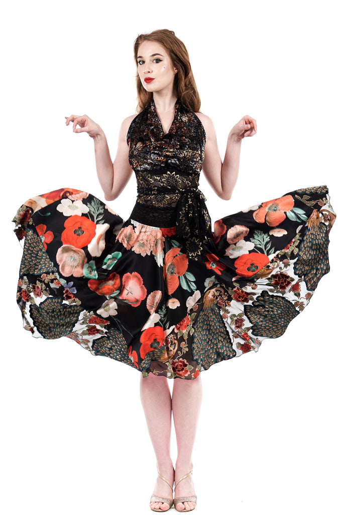 painted poppy circle skirt - Poema Tango Clothes: handmade luxury clothing for Argentine tango