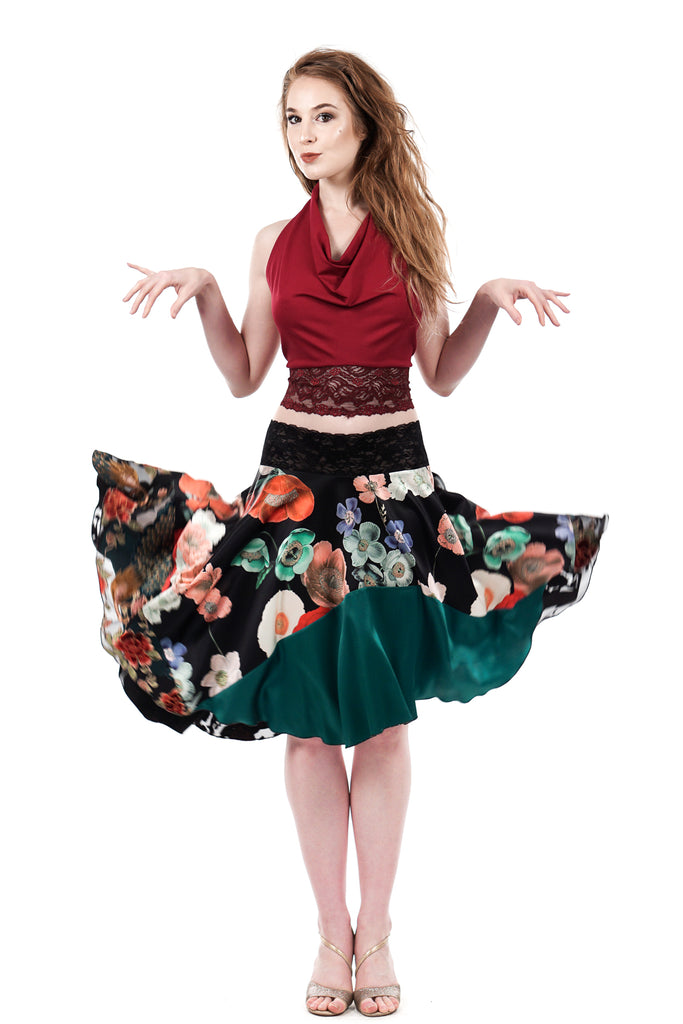 painted poppy silk circle skirt - Poema Tango Clothes: handmade luxury clothing for Argentine tango