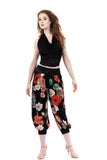 painted poppy silk tango pants - Poema Tango Clothes: handmade luxury clothing for Argentine tango