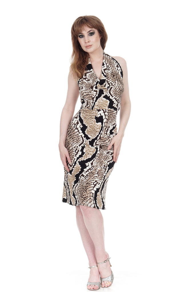 painted python halter dress - Poema Tango Clothes: handmade luxury clothing for Argentine tango