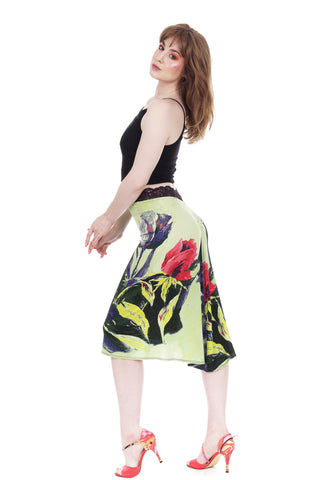 painted tulips ruched skirt