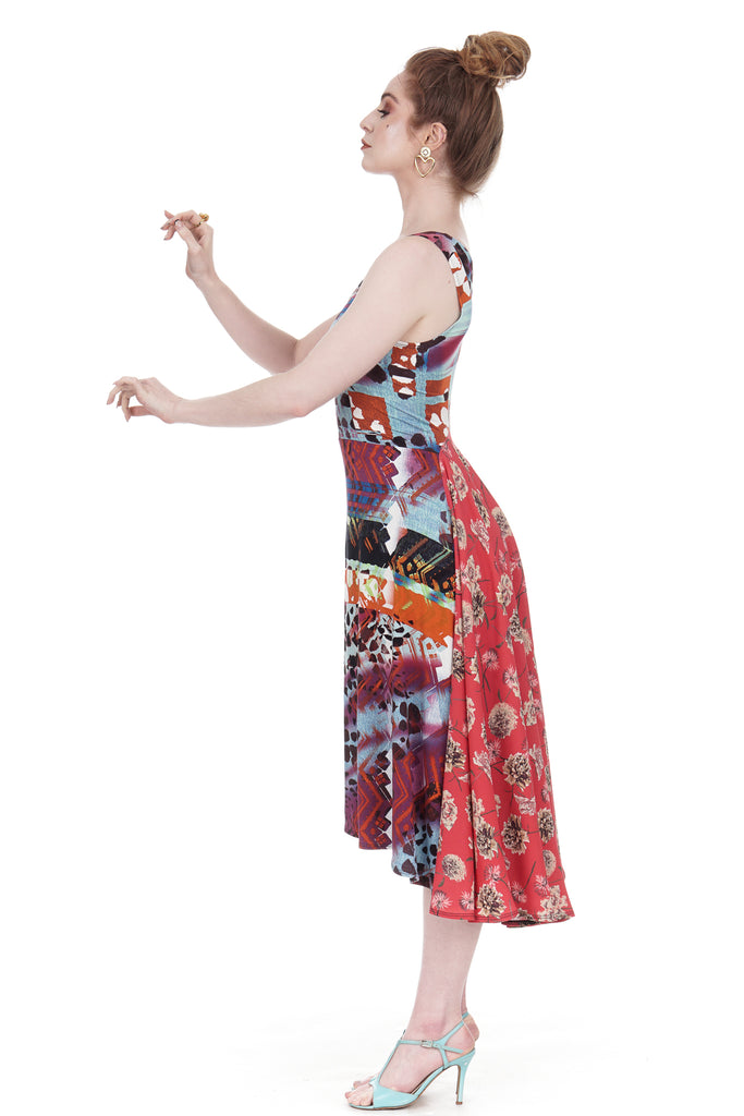 painterly & fire flower dress - Poema Tango Clothes: handmade luxury clothing for Argentine tango