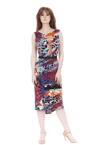 painterly ruched dress