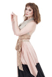 pale dove & blush wrap top - Poema Tango Clothes: handmade luxury clothing for Argentine tango
