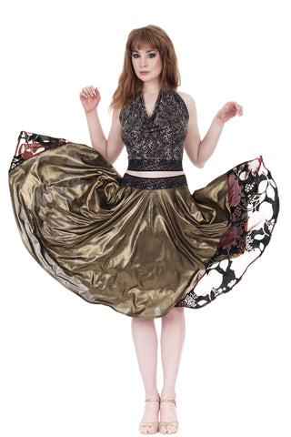 patina gold & vintage velvet skirt