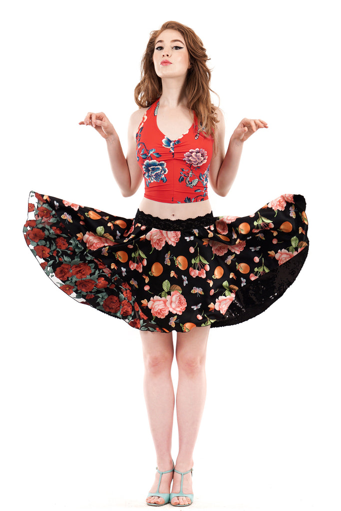 peach tree circle skirt - Poema Tango Clothes: handmade luxury clothing for Argentine tango