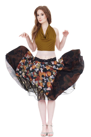 pear blossom in twilight circle skirt