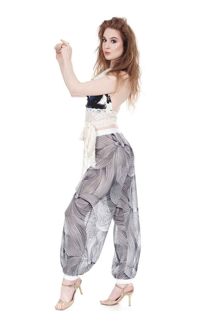 pen & ink gardenia tango trousers - Poema Tango Clothes: handmade luxury clothing for Argentine tango