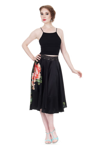 peony at night silk skirt