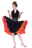 persimmon & sequin-dipped inky silk skirt - Poema Tango Clothes: handmade luxury clothing for Argentine tango
