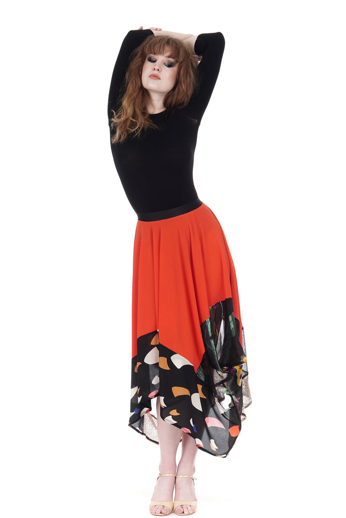 persimmon & silk bustled skirt - Poema Tango Clothes: handmade luxury clothing for Argentine tango