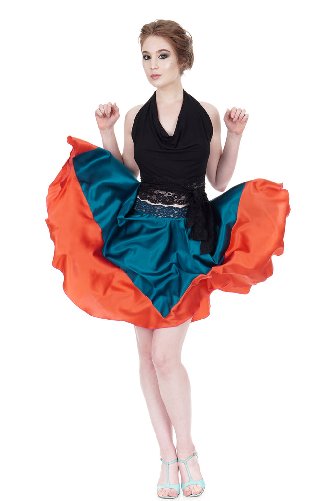 persimmon-dipped turquoise silk skirt - Poema Tango Clothes: handmade luxury clothing for Argentine tango