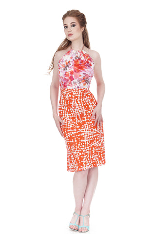 persimmon graphic and cherry blossom dress