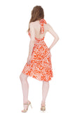 persimmon graphic dress - Poema Tango Clothes: handmade luxury clothing for Argentine tango