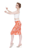 persimmon graphic pencil skirt - Poema Tango Clothes: handmade luxury clothing for Argentine tango