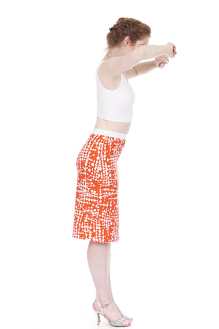 persimmon graphic pencil skirt