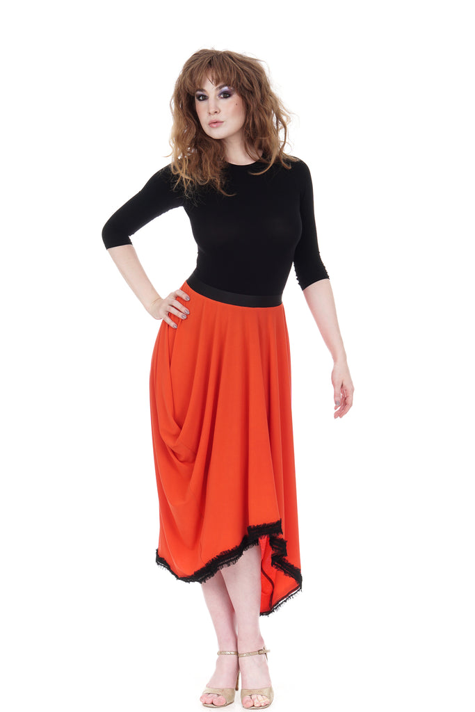 persimmon ruffled & bustled skirt - Poema Tango Clothes: handmade luxury clothing for Argentine tango