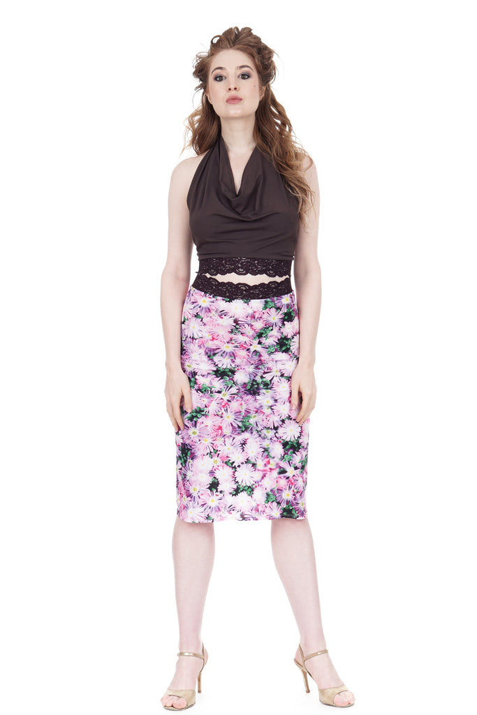 photopop daisy ruched skirt - Poema Tango Clothes: handmade luxury clothing for Argentine tango