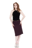 plum burgundy ruched skirt - Poema Tango Clothes: handmade luxury clothing for Argentine tango