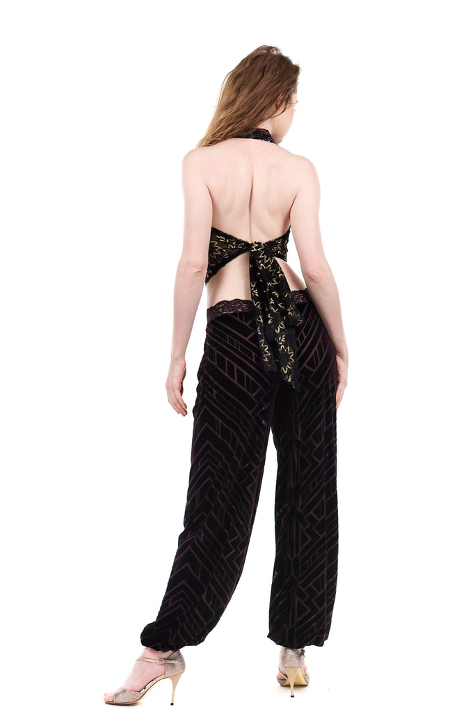 plum geometric burnout velvet tango trousers - Poema Tango Clothes: handmade luxury clothing for Argentine tango