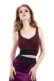 plum moire dance crop - Poema Tango Clothes: handmade luxury clothing for Argentine tango