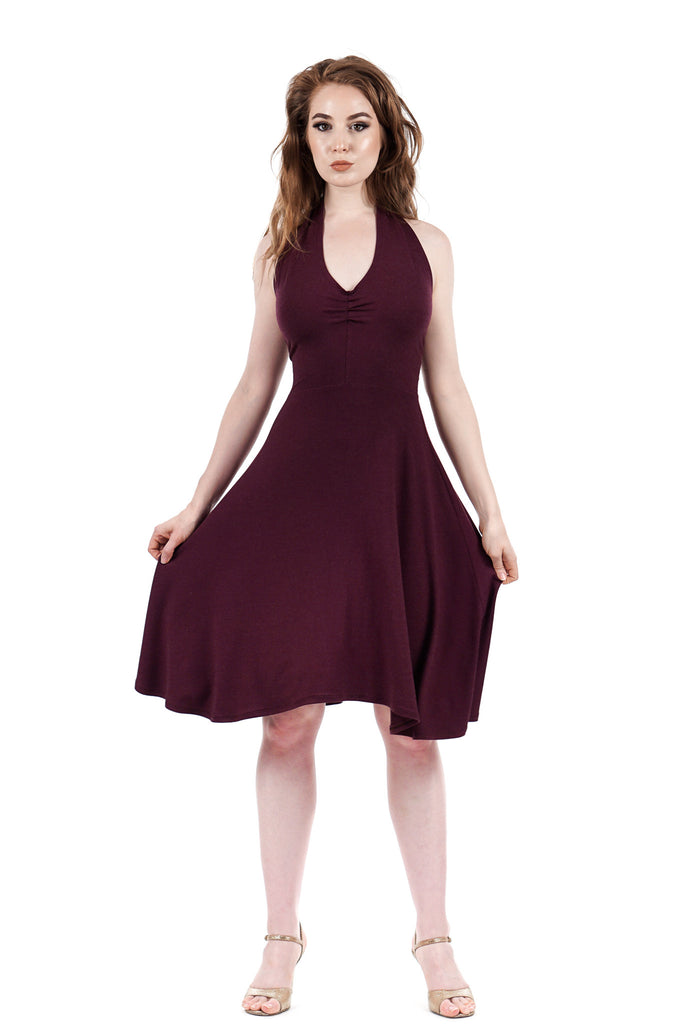 plum moire flared dress - Poema Tango Clothes: handmade luxury clothing for Argentine tango