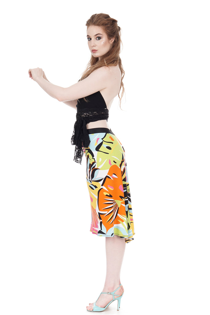 pop tropic fluted skirt - Poema Tango Clothes: handmade luxury clothing for Argentine tango