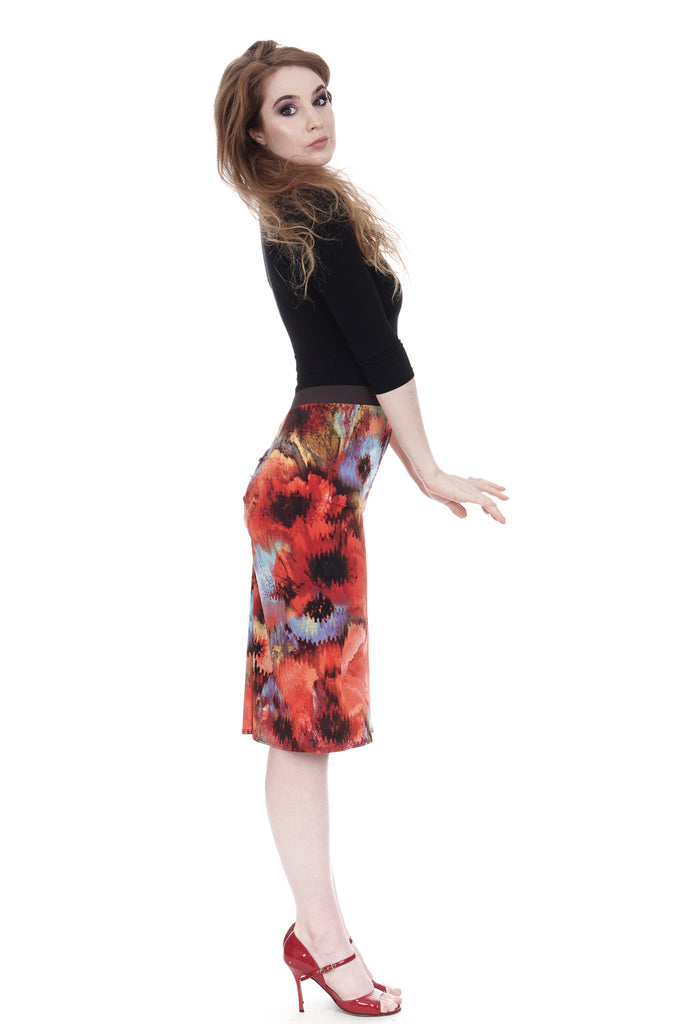 poppy dream ruched skirt - Poema Tango Clothes: handmade luxury clothing for Argentine tango